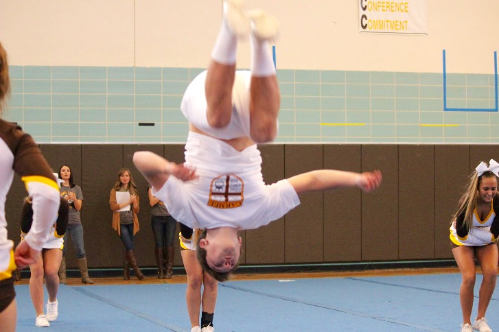 Brock Ortiz shows off his skills at the winter pep rally.