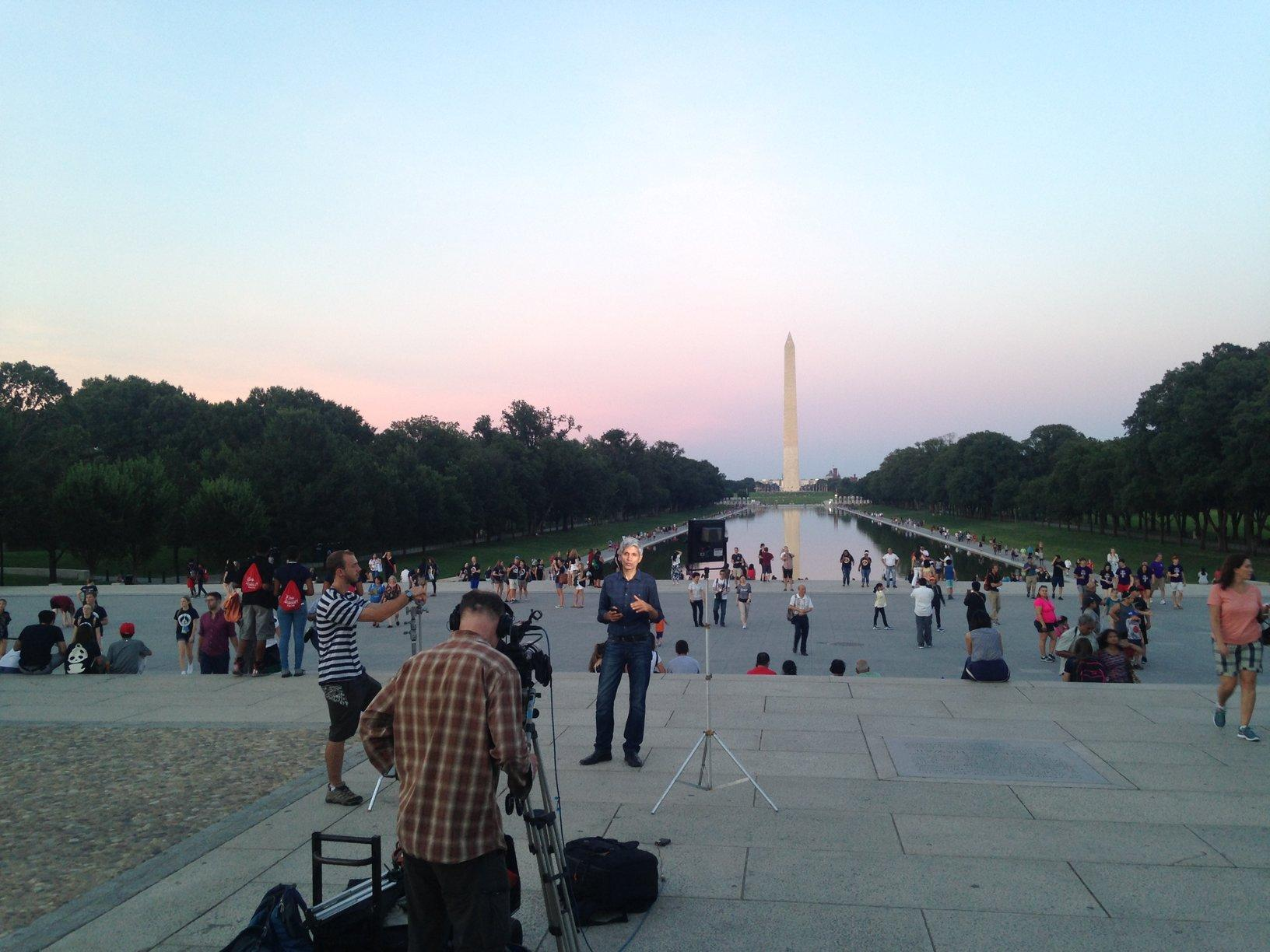 THE REAL MALL OF AMERICA: students, residents, and lawmakers take in sunset over the National Mall