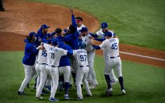 Dodgers players celebrate after the final out.